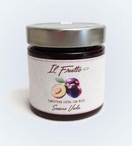 confettura extra di susine viola - vasetto anteriore - il frutto società agricola