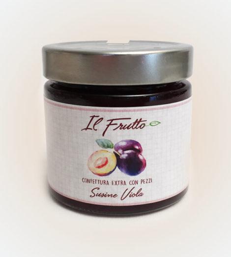 confettura extra di susine viola - vasetto anteriore - il frutto società agricola Noceto